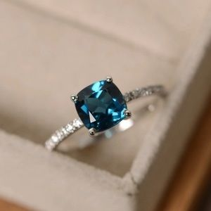 Jewelry - Cushion Cut Peacock Blue Topaz Ring size 7